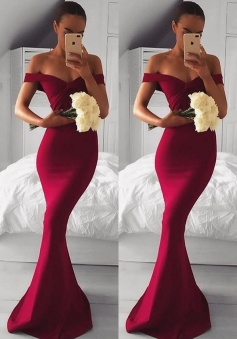 Sexy Off-the-shoulder Mermaid Modern Long Chiffon Red Prom Dress