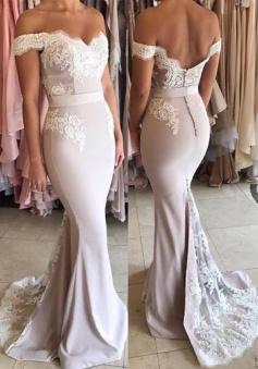 Off The Shoulder Open Back Lace Mermaid Formal 2018 Evening Dress