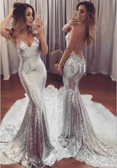 Sexy Mermaid Silver Sequined Backless Prom Dress Long Evening Dress