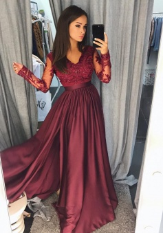 Sexy A Line Burgundy Long Sleeve 2018 Lace Prom Dress With Split
