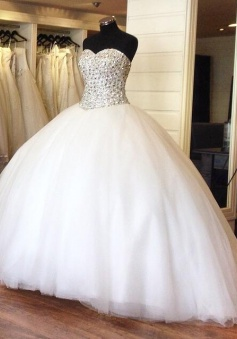Crystal Princess Organza Beading Sweetheart Ball Gowns Wedding Dress Bridal Dress