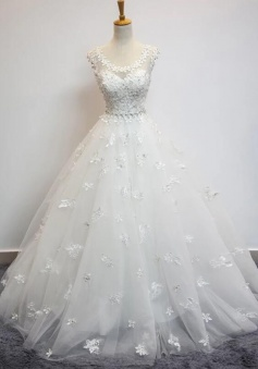Beauty Flower Cap Sleeves Ball Gowns Lace Wedding Dress