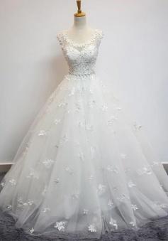Beauty Flower Cap Sleeves Ball Gowns Lace Wedding Dress