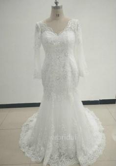 Vintage Long Sleeves V Neck Mermaid  White Lace Wedding Dress