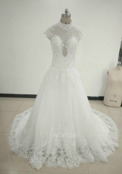 A-Line Cap Sleeves Princess Lace Wedding Dress