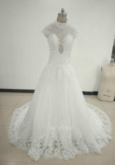A-Line Cap Sleeves Princess Lace Wedding Dress