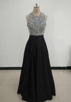 A Line Halter Beading Long Prom Dress