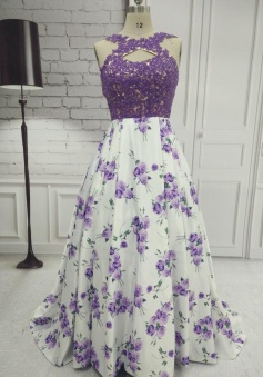 A-Line Sleeveless Printing Lace Prom Dress