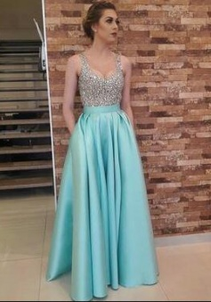 Sexy A-line Long Satin Beaded Prom Dresses Sexy Party Dress with Pockets