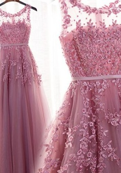 Pretty Lace Tulle long prom dress Sexy Evening Dress Formal Women Dress