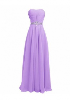Sleeveless A Line Chiffon Long Bridesmaid Dress with Beading