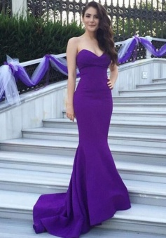 Sweetheart Sleeveless Mermaid Sweep Train Bridesmaid Dress