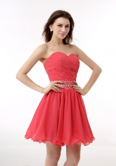 A-line Sweetheart Chiffon Short/Mini Prom Dresses With Beading