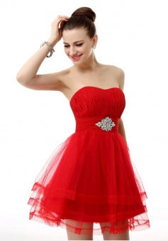 A-line Tulle Short/Mini Beading Homecoming Dresses