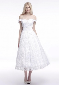 Off Shoulder A-line Tea-Length Appliques Lace Wedding Dresses
