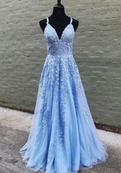 New Arrival A-line V-neck Appliques Lace Floor-length Prom Dresses