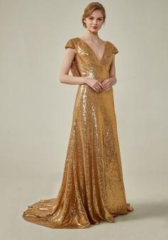 Metallic V-Neck Gold Sequined Cowl Back Bridesmaid Dress