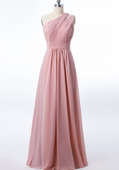One Shoulder with Double-Straps Detail Pleated Bodice Floor Length Chiffon Bridesmaid Dress