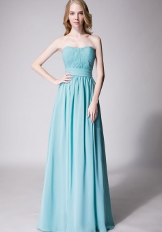 Cute Strapless Sweetheart Chiffon Bridesmaid Dress with Corset Back