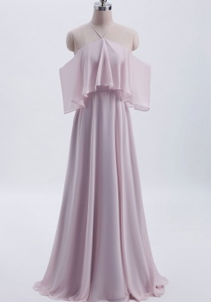 Y-Neck Ruffle Chiffon Multi-wear Bridesmaid Dress Long