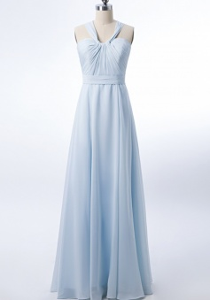 Halter Neck Ruched Bodice Chiffon A-line Bridesmaid Dress with Cutout Back