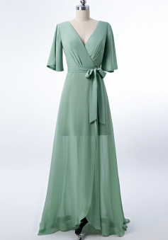 V Neck and Back Tied Waist Ruffled Hem Chiffon Bridesmaid Dress with Side Slit