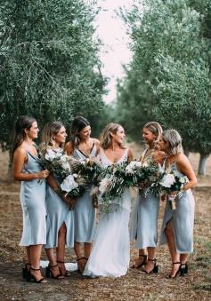Spaghetti Straps Draped Collar Neckline Luxe Satin Short Bridesmaid Dress with Slit