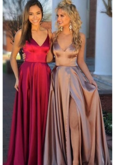 Spaghetti Strap V Neckline High Split Luxe Satin Bridesmaid Dress with Train