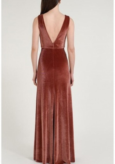 Deep V Neck and Back Luxe Stretch Velvet Bridesmaid Dress Long
