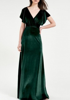 V Neck and Deep V Back Wrap Flounce Sleeve Luxe Stretch Velvet Bridesmaid Dress