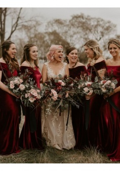 Off the Shoulder Luxe Stretch Velvet Bridesmaid Dress with Train