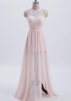 Scoop Neck Knee-Length Satin Bridesmaid Dress With Cascading Ruffles