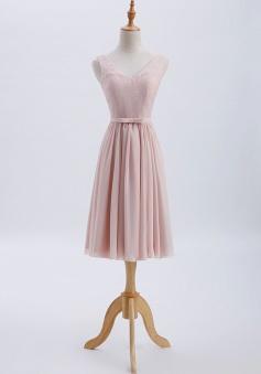 V-Neck Lace Bodice Straps Detail Back Short Bridesmaid Dress with Belt
