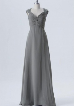 Twist Front Pleated Bodice Lace Cap Sleeve Bridesmaid Dress with Keyhole Back