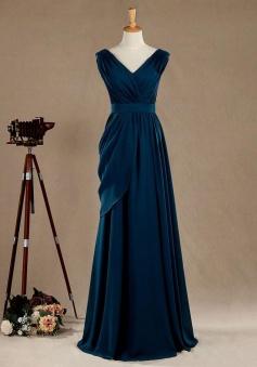 V Neckline Lace Cap Sleeve Keyhole Back Chiffon Bridesmaid Dress
