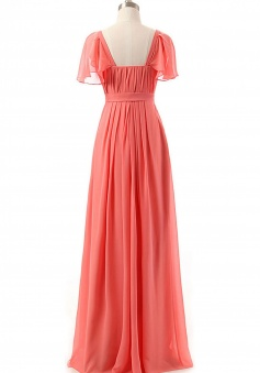 Flutter Sleeves Sweetheart Chiffon Bridesmaid Dress with Flowing Cape