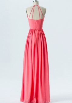 Halter Spaghetti Straps Back Chiffon Bridesmaid Dress Long