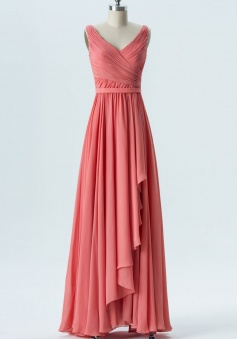 V Neck & Back Pleated Chiffon Tank Bridesmaid Dress with Ruffle