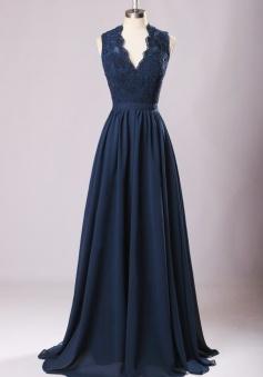 Keyhole Back Lace V Neck Chiffon Bridesmaid Dress Long