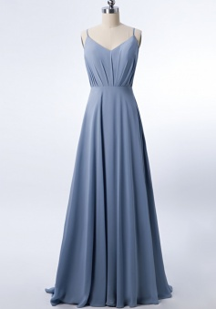 Adjustable Spaghetti Strap V Neck & Back Soft Ruched A-line Bridesmaid Dress