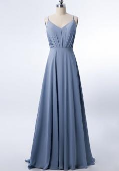 Adjustable Spaghetti Strap V Neck & Back Soft Ruched A-line Bridesmaid Dress