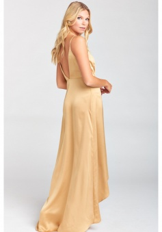 Spaghetti Straps V Neck and Back Wrap Luxe Satin Bridesmaid Dress with Ruffled Slit