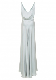 Deep V Neck Scoop Back Plunging Button Up Luxe Satin Long Bridesmaid Dress with Slit