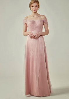 Simple Off the Shoulder Tulle Sweetheart Column Bridesmaid Dress