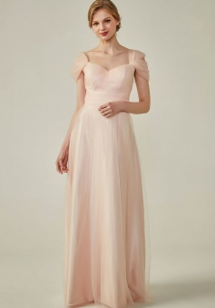 Sweetheart Neckline Cold Shoulder Long V back Tulle Bridesmaid Dress