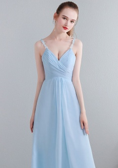 Lace Spaghetti Straps Illusion V Neck & Back Chiffon Bridesmaid Dress