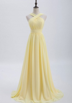 Criss-cross Halter Pleated Chiffon Bridesmaid Dress with Cross-straps Back