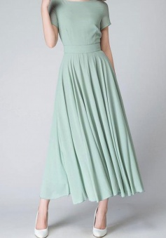 Simple Scoop Short Sleeve Ankle Length Chiffon Bridesmaid Dress