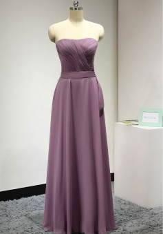 Sweetheart Pleated Chiffon Bridesmaid Dress with Removable Belt
