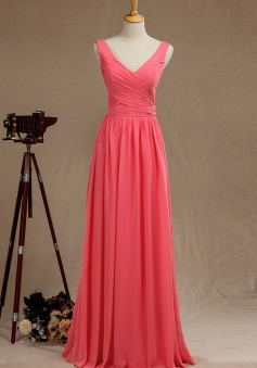 Sexy Tank V Neck & Back Pleated Chiffon Bridesmaid Dress Long